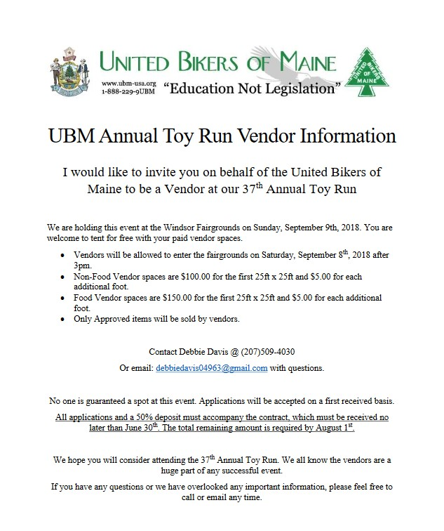 2018 Toy Run Vendor Contract page 1
