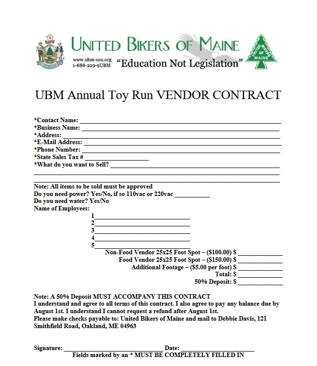 2018 Toy Run Vendor Contract page 2