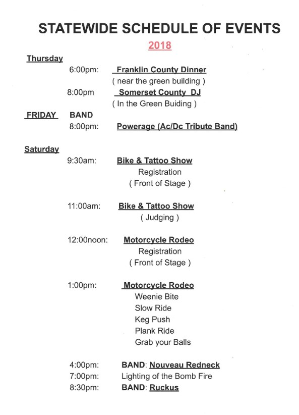 Statewide Schedule of events