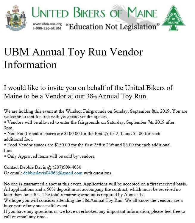 Toy Run 2019 Vendor Contract page 1