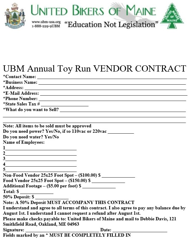 Toy Run 2019 Vendor Contract page 2